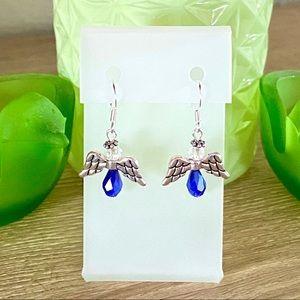 Angel Earrings-Handmade-Cobalt Blue-New